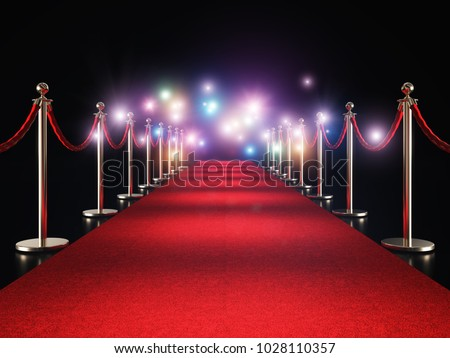 classic red carpet and flash flare 3d rendering image