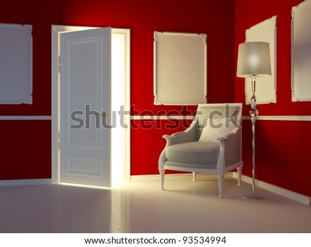 Classic red interior,  luxury apartment with classic armchair and open door, 3d render