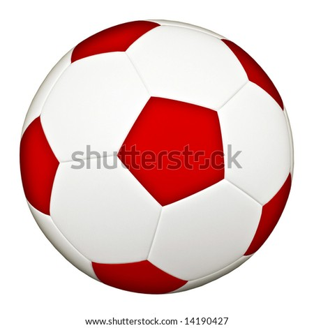 Classic red soccerball isolated on white background