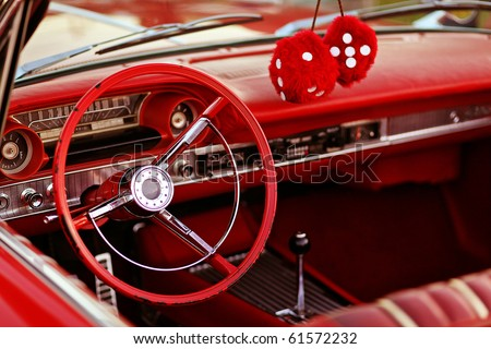 classic red vintage car - stock photo