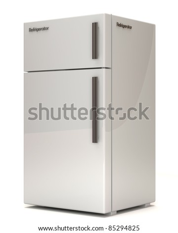 Classic Refrigerator on white background