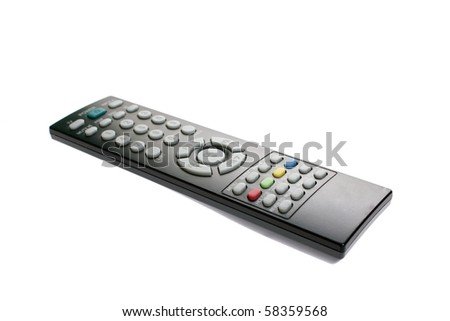 Classic remote control for media center. Isolated on white background