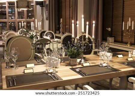 Classic restaurant interior with candles