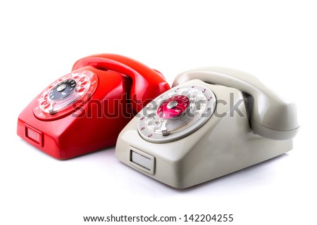 Classic 1970 - 1980 retro dial style red house telephones