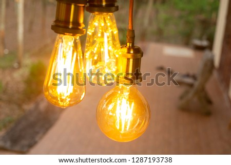 classic retro incandescent led electric lamp on blur background,Vintage light bulb