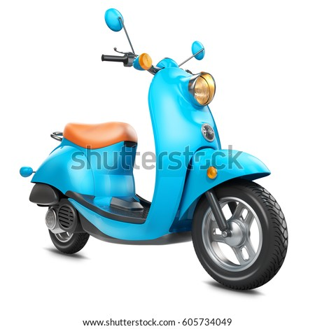 Classic retro scooter isolated on white background 3d