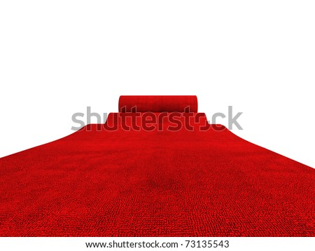 classic rolling red carpet on white background Stock foto ©