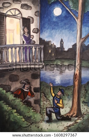 Classic romance story with Cyrano DeBergerac prompting Christian from the bushes while Roxane listens from the balcony above.