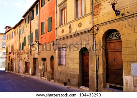 Classic row houses in Siena, Italy