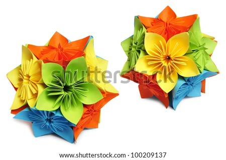 Classic Royal kusudama. Colorful paper origami isolated on white.
