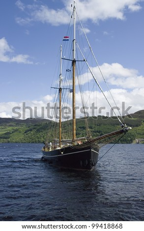 Classic sailboat. Loch Ness, Scotland. UK