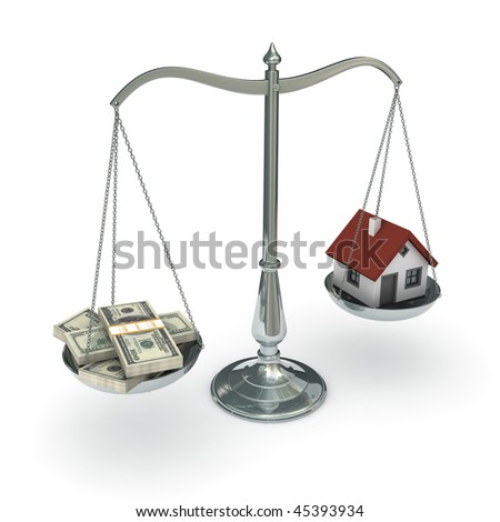 Classic scales of justice with a house and stacks of hundred dollar bills, isolated on white background