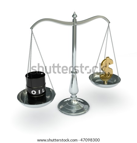 classic scales of justice with an oil barrel and dollar sign, isolated on white background