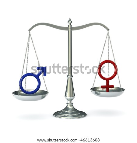 Classic scales of justice with male and female gender symbols, isolated on white background