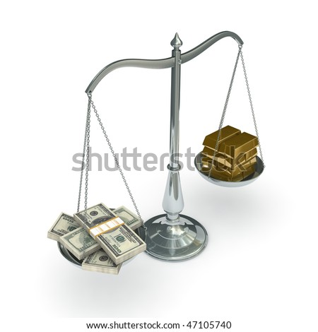 classic scales of justice with packs of hundred dollar bills and gold bars, isolated on white background