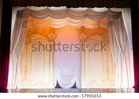 classic scenography with curtains in old theater