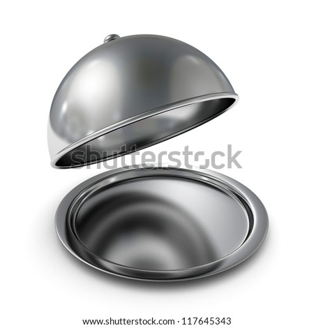classic silver opened cloche on white background