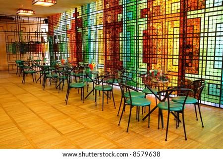 classic small restaurant interior, natural light