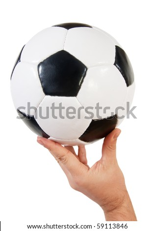 classic soccer ball in hand. Isolated on white
