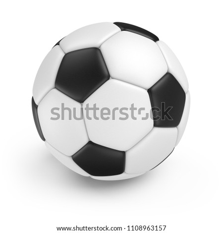 Classic Soccer Ball Isolated on White Background. 3D Illustration. Black and White Football Ball. #1108963157