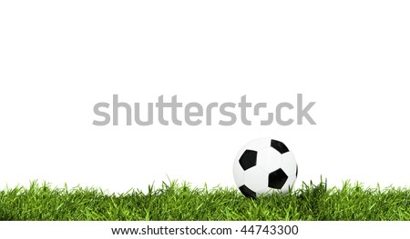 Classic soccer ball on green grass isolated on white