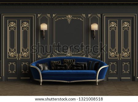 Classic sofa in classic interior with copy space.Walls with mouldings,lamps,ornated cornice. Floor parquet herringbone.Classic doors with decoration.Digital Illustration.3d rendering