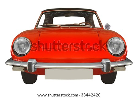 classic Spanish car from the 70s isolated on white background