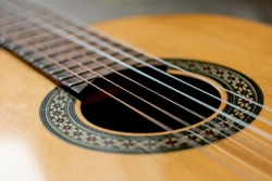 classic spanish guitar on wooden background. guitar with nylon strings