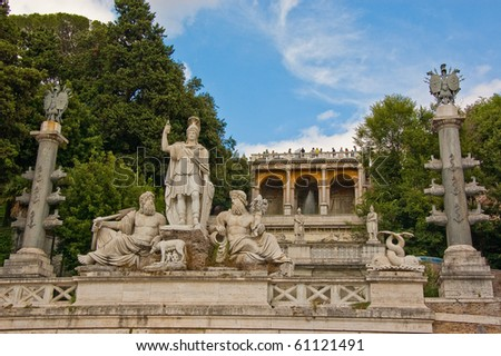 classic statue of a fountain in Rome