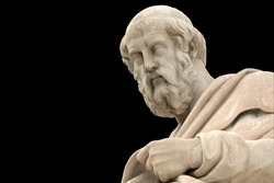 classic statue of Plato from side close up