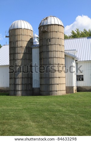 Classic storage silos on a working farm in the Midwest