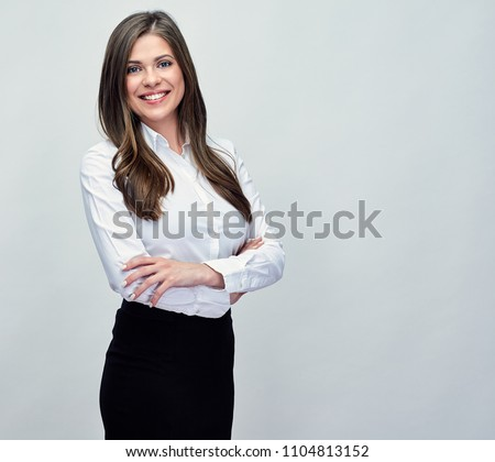 Classic studio portrait of smiling positive business woman.