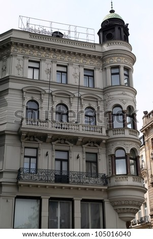 Classic style building facade. Old building.
