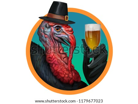 Classic Style Illustration of Thanksgiving Turkey Wearing Hat and Holding Beer with His Wing