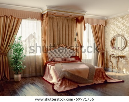 classic style modern bedroom interior (3D rendering)