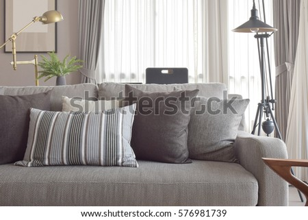 Classic style of pillows and sofa in grey tone color #576981739