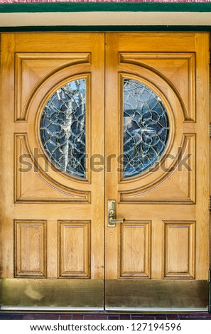 Classic style wooden door with windows
