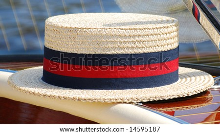 Classic sun hat on a classic boat