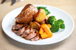 Classic Sunday Roast Dinner With Mixed Vegetables