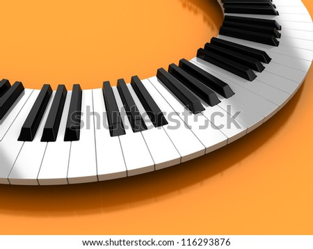 Classic synthesizer  over yellow background, 3d illustration