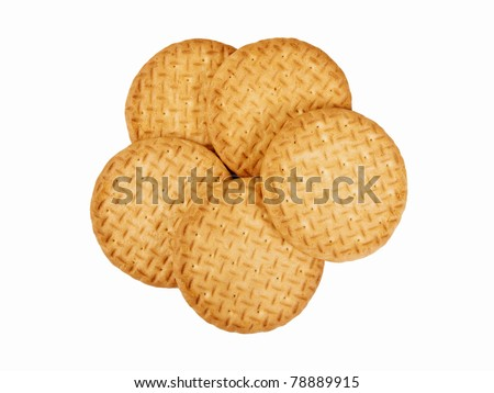 Classic tea biscuits isolated on white