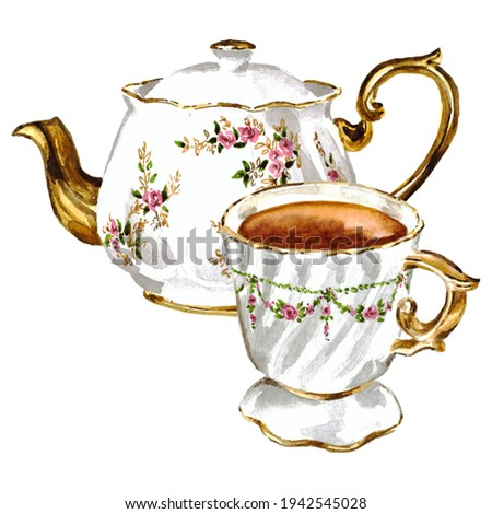 Classic tea set of vintage teapot decorated with pink flowers and hot drink cup with floral garland ornament. Watercolor hand painted breakfast teaparty illustration. Kitchen decor isolated on white. Zdjęcia stock ©