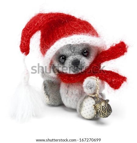 Classic teddy bear in holiday wear