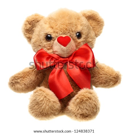 Classic teddy bear with red bow and nose heart shape isolated on white background