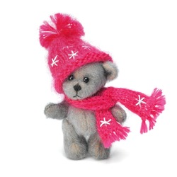 Classic teddy bears couple in holiday wear