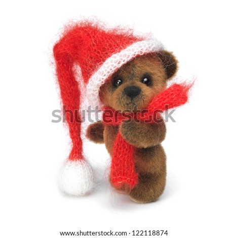 Classic teddy bears couple in holiday wear - stock photo