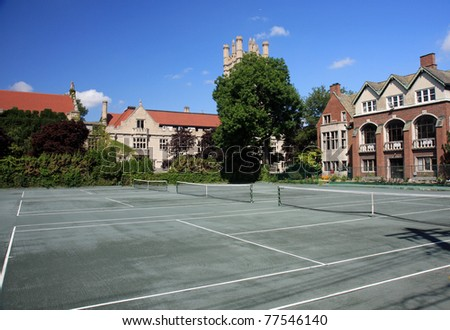 Classic tennis courts on an Ivy League university campus - stock photo