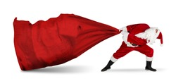 classic traditional crazy funny santa claus on exhausting delivery service. towing huge giant big red bag with christmas gift present  isolated on white background