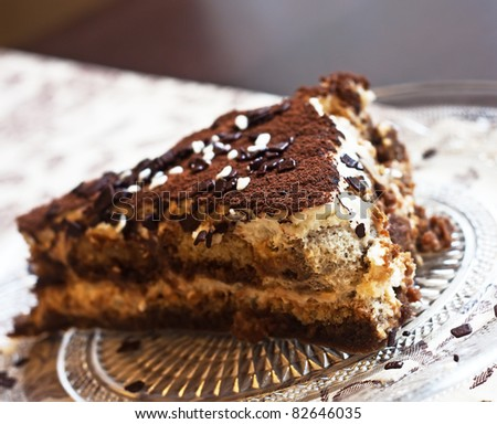 Classic, traditional tiramisu fresh cake from Italian tradition