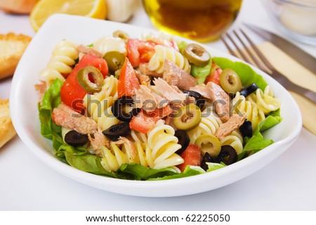 Need help, Need recipe! Stock-photo-classic-tuna-salad-with-pasta-olives-and-tomato-62225050